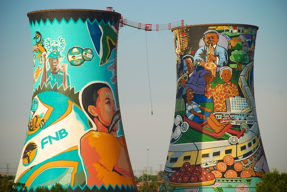 A bungee jumper at the Orlando Towers in Soweto Township, South Africa